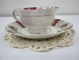 Vintage NASCO JAPAN Bone China Gold Trim Floral Tea Cup Saucer Crochet D... - $19.95