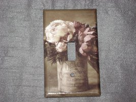 VINTAGE CAN PLANTER PEONIES FLOWER FLORAL- SINGLE Light Switch Plate / C... - $6.50
