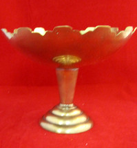 Mid Century Brass India Ornate Candy Bowl/Dish on Pedestal - $33.95