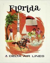 Florida, Delta Air Lines - Vintage Travel poster,  canvas art print,   t... - $23.99
