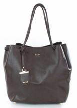 DKNY Donna Karan Dark Brown Leather Shoulder Shopper Bag Medium Handbag - $290.45