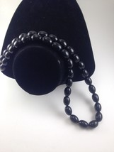 Vintage Signed Trifari Black Thermoset Oval Beaded Necklace. - $14.20