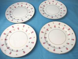 4 Noritake China Salad Luncheon Plates Rosalie #3052 Pattern White Gold ... - $32.25