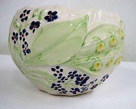 Hand-painted Planter Vase Container RC Portugal Violets Yellow Bells Flo... - $45.14