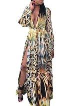 Long Sleeve Print V-neck Chiffon Dress - $39.95