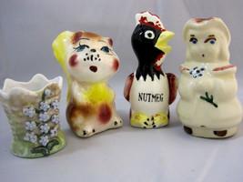 Old Vintage Salt Pepper - Herb Shaker - Toothpick Holder Lot of 4 Figurines - $20.29