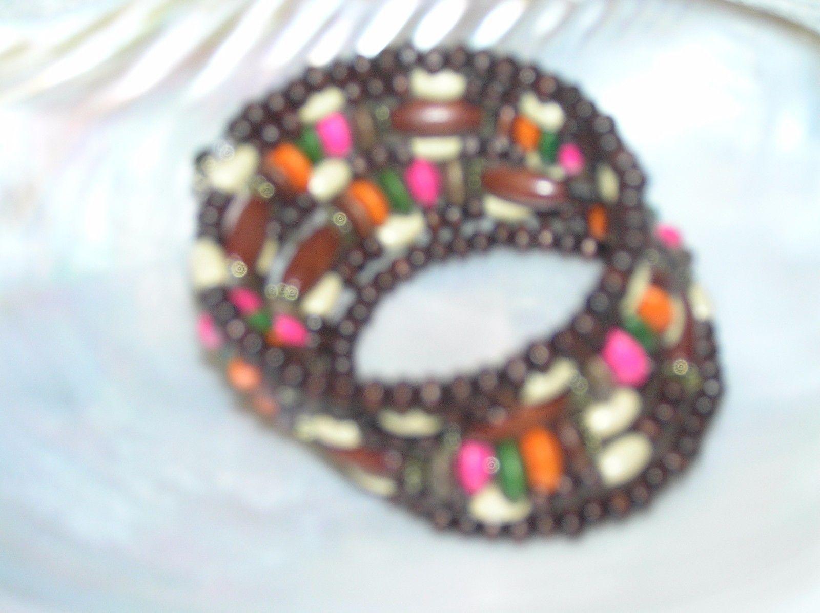 Gently Used Wide Dark Light Pink Green & Orange Painted Wood Bead Wrap Bracelet