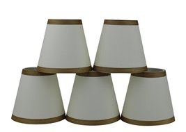Urbanest Set of 5 Eggshell Silk Chandelier Lamp Shade with Gold Trim, 3-... - $29.69