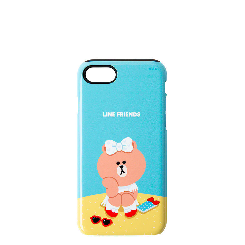 LINE Friends CHOCO Guard Up Glossy Case iPhone 7/7 Plus Hard Silicon Mobile Skin