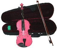 Lucky Gifts 1/10 Size Beginner, Student Violin with Case and Bow ~ Pink