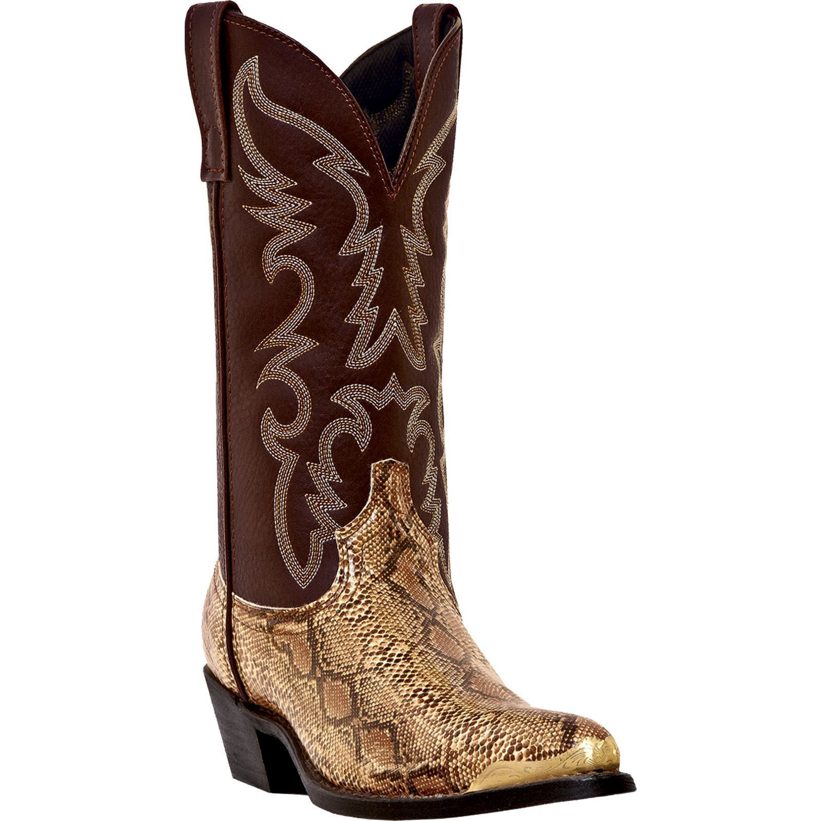 Men`s Brown Faux Leather & Snake Skin Cowboy Boots Cheap New Western Boots J Toe