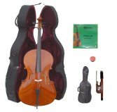 Lucky Gifts 3/4 Size Student Cello with Hard Case,Soft Bag,Bow,2 Sets of Strings