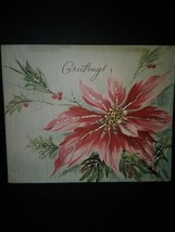Big Pink Poinsettia Vintage Christmas Card - $4.00