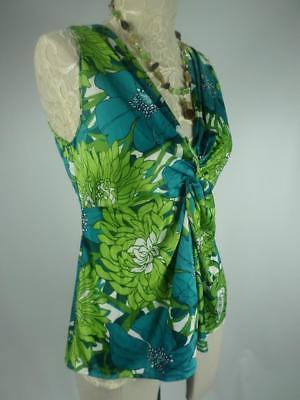 ANN TAYLOR LOFT Green Womans Size 0 Floral Sleeveless vneckTwist Knot top blouse