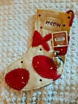 WAGS TO WHISKERS SOFT FLEECE CHRISTMAS STOCKING FOR CAT w/TUXEDO CAT ORN... - $5.94