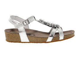 Sandalia plana MEPHISTO IBELLA de cuero plata - Zapatos Mujer - $159.54