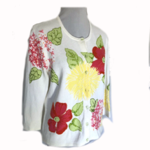 Talbots White Cardigan Sweater Beased Flowers Red Yellow Med - $24.26