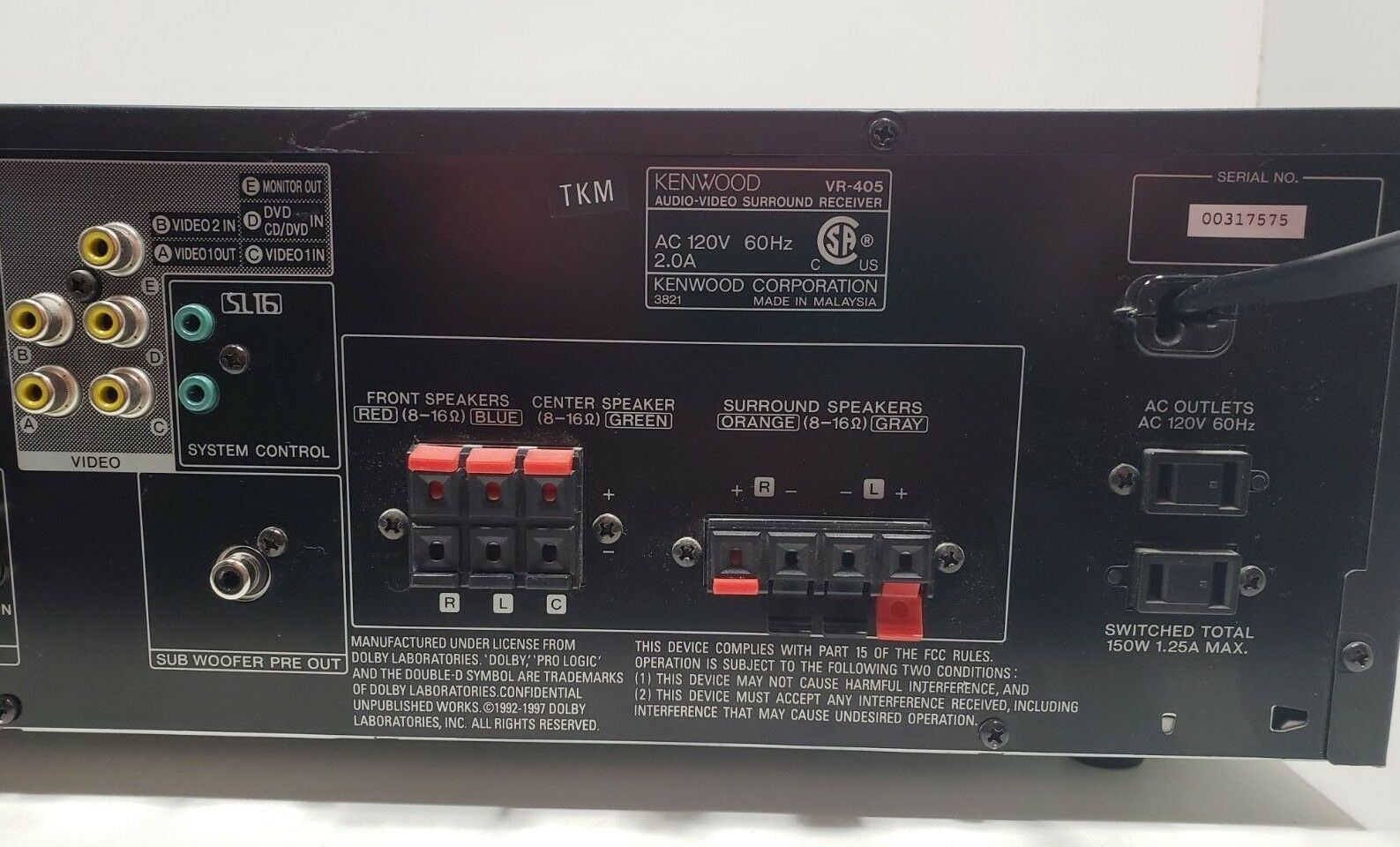 Kenwood Audio-Video Surround Receiver VR-405...Tested. with Remote bundle