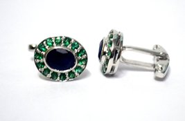 925 Sterling Silver Natural Fine Quality Blue Sapphire And Emerald Gemstone Arti image 2