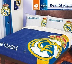 Real Madrid Fuzzy Fleece Blanket 100% Polyester Twin/Full/Queen Size - €68,78 EUR