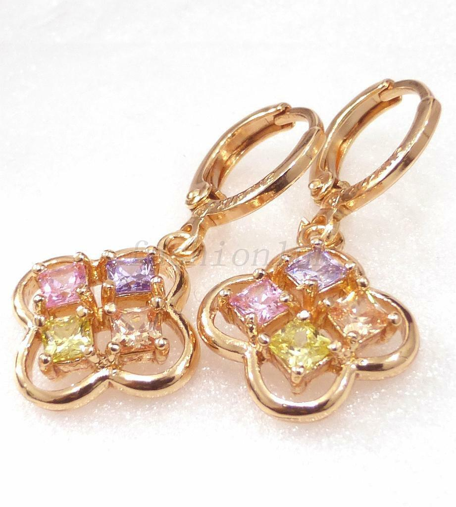 Women 18K Yellow Gold Plated Pink Simulated Diamond Drop Dangle Earrings UK