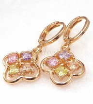 Women 18K Yellow Gold Plated Pink Simulated Diamond Drop Dangle Earrings UK - $16.15