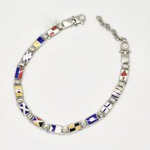 Bracelet Argent 925, Drapeaux Nautique Émaillés,Long 20 cm, Épaisseur 5 MM image 4