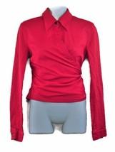 Escada Wrap Blouse Top US 6 EU 36 Red Cotton Rockabilly Pinup Bold Designer - $24.95