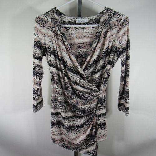 Calvin Klein Blusa Camisa Top TALLA S Blanco Negro Piel de Serpiente Estampado
