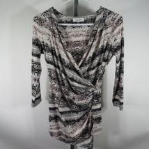 Calvin Klein Blusa Camisa Top TALLA S Blanco Negro Piel de Serpiente Est... - $32.76