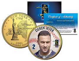 DEREK JETER Colorized New York State Quarter U.S. 24K Gold Plated Coin Y... - $7.87