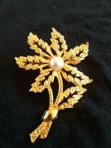 Vintage Textured Large Flower Faux Pearl Gold Tone Pin  Brooch  - $5.00