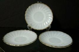 Set of 3 Anchor Hocking Fire-King Swirl-Golden Shell Milk Glass Saucers  - $4.21