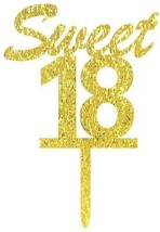 Gold Sweet 18 Cake Topper - Happy 18th Birthday Party Decoration - 18th... - $26.64