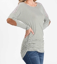 Olive Striped Top, Green Pinstripe Shirt, Long Sleeve Striped Top, Lace Details image 2