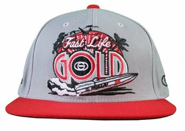 Gold M.V.P. Grey Red Fast Life Speedboat Starter Snapback Baseball Cap Hat NWT