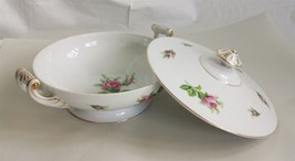 "vintage WILD ROSE CHINA TUREEN made in JAPAN 11""x6"" bowl lid handles sou... - $47.50"