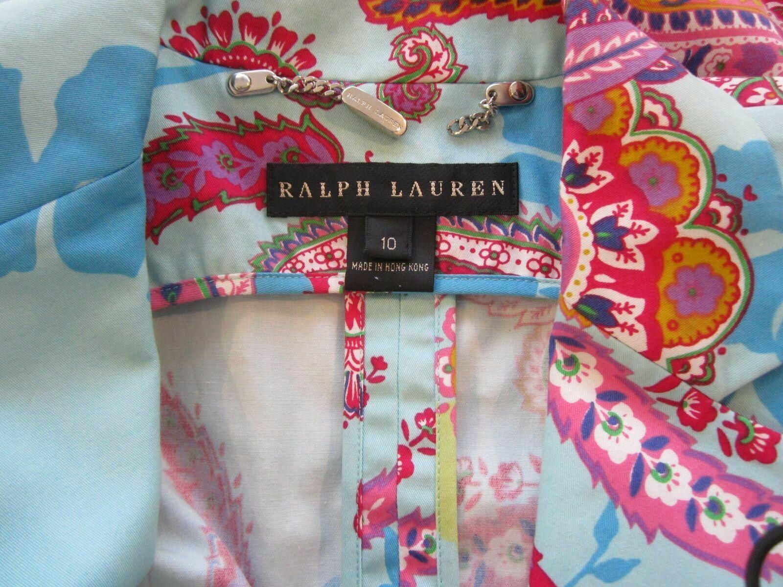 10 RALPH LAUREN BLACK LABEL Floral Cotton Jacket Blazer
