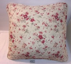 "Waverly Red Floral Throw Pillow Morning Glory Garden Room Flowers 15"" Square EUC - $20.74"