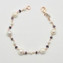 Armband 925 Silber mit Weissen Perlen Süßwasserperlen und Iolite Made in... - $89.65