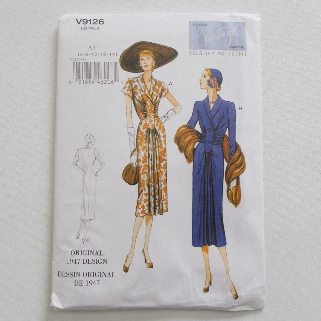 Vogue V9126 Vintage Model Dress Pattern 1947 Design Size A5 6-14