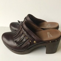 Womens Dansko 'Deni' Leather Fringe Clog Mule Brown 5.5-6 - $36.17