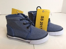 Nautica Leeway Lace Up High Top Blue Casual Sneakers Shoes Boys Sz 7 Tod... - $45.56