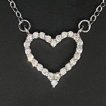 1 ct white heart diamond halo pendant necklace thumb200