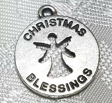 CHRISTMAS BLESSINGS ANGEL CUT-OUT FINE PEWTER PENDANT CHARM