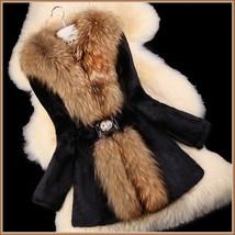 Luxury Dog Racoon Long Hair Fur Collar Mid Length Dyed Rex Rabbit Fur Coat  image 5