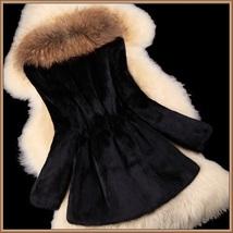 Luxury Dog Racoon Long Hair Fur Collar Mid Length Dyed Rex Rabbit Fur Coat  image 6