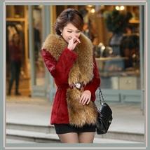 Luxury Dog Racoon Long Hair Fur Collar Mid Length Dyed Rex Rabbit Fur Coat  image 7