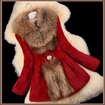Luxury Dog Racoon Long Hair Fur Collar Mid Length Dyed Rex Rabbit Fur Coat  image 8