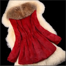 Luxury Dog Racoon Long Hair Fur Collar Mid Length Dyed Rex Rabbit Fur Coat  image 9